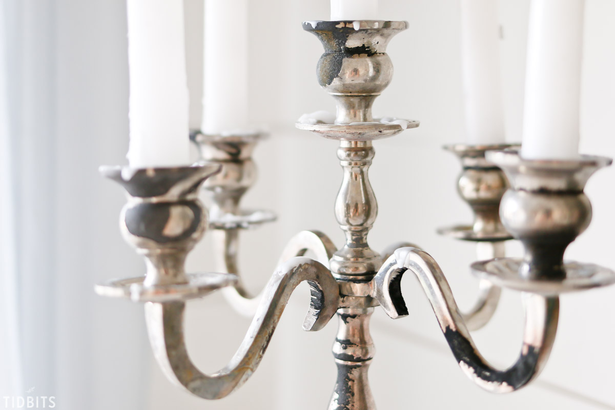 aged patina on a new candelabra