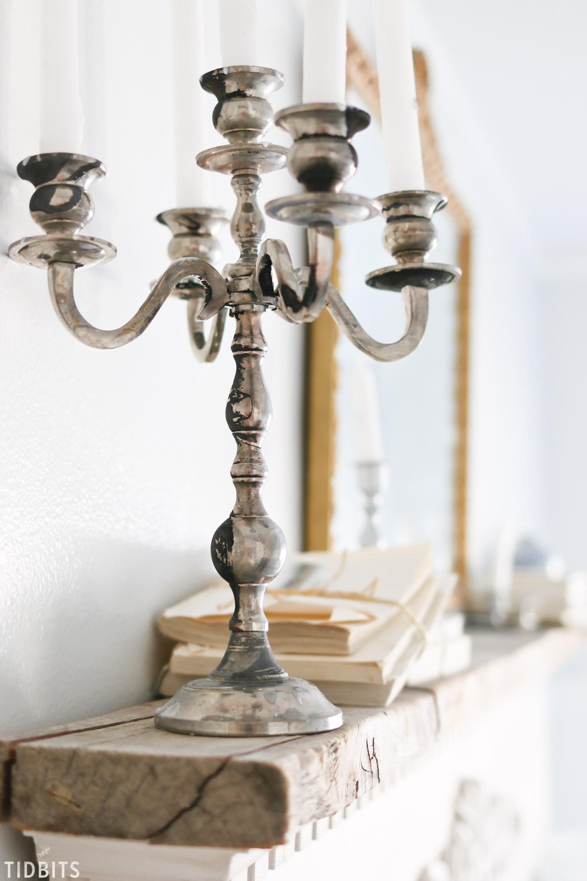 vintage candelabra on mantel