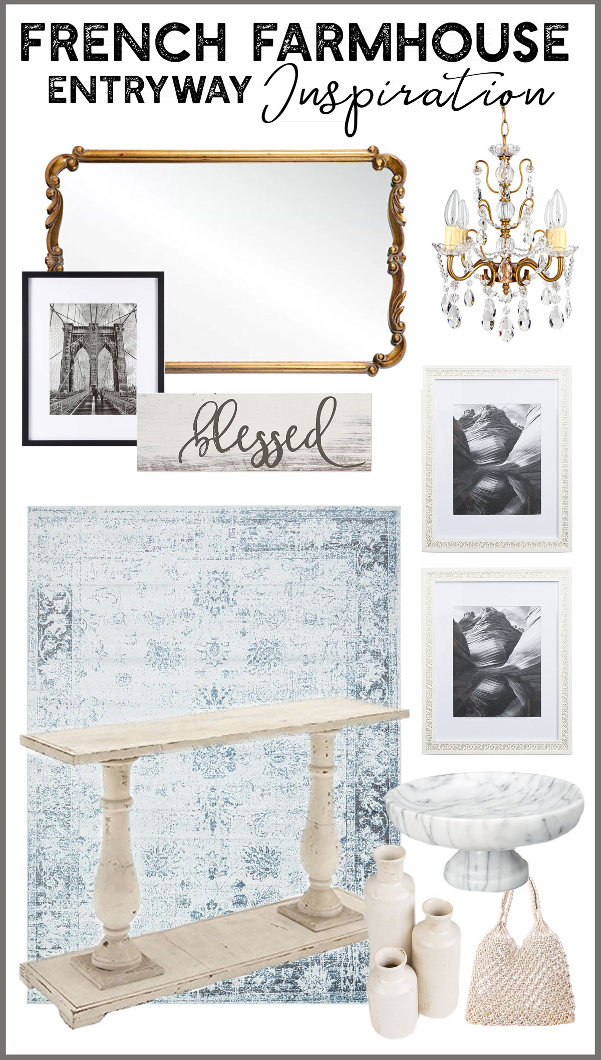Mood board for a romantic French farmhouse entry way or foyer.