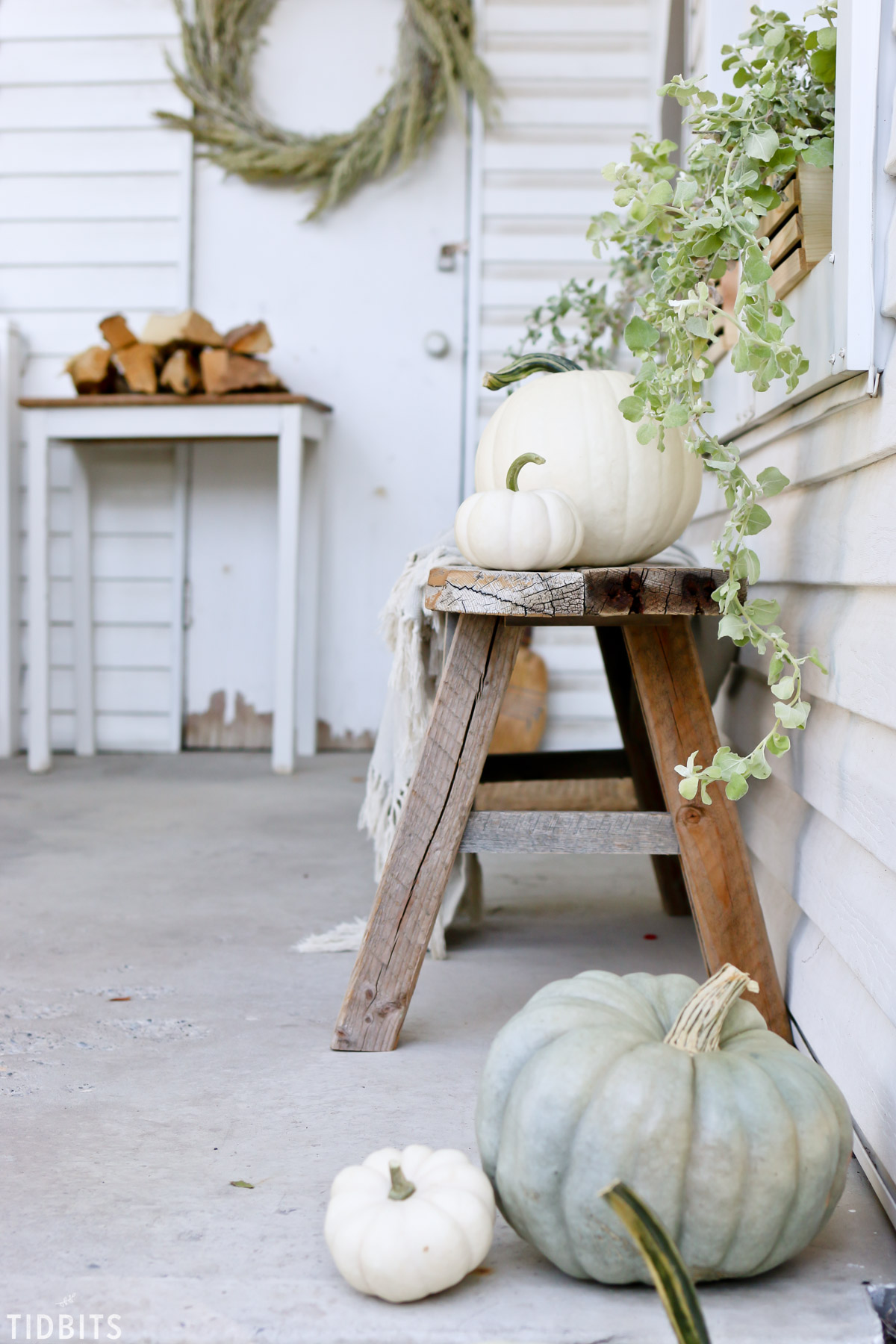pumpkins on a Fall front porch