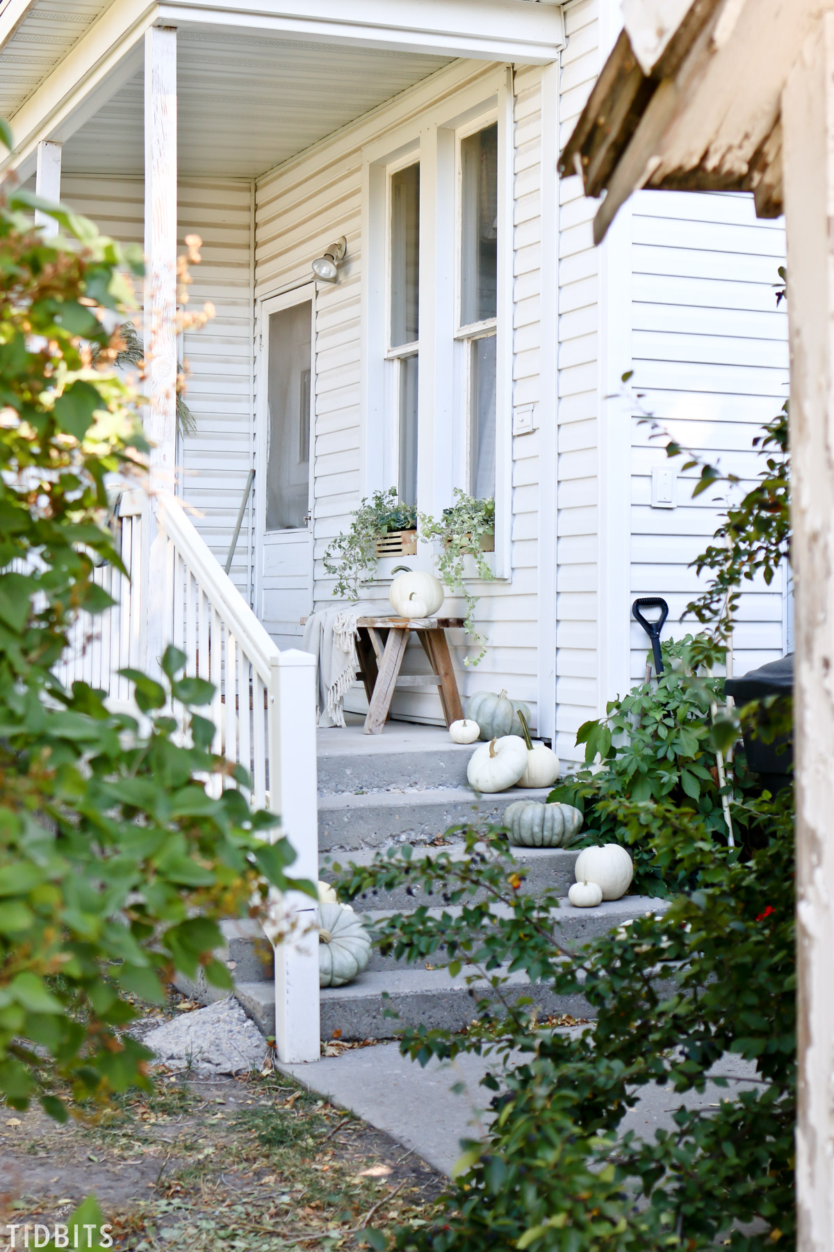 charming Fall front porch on 100 year old home