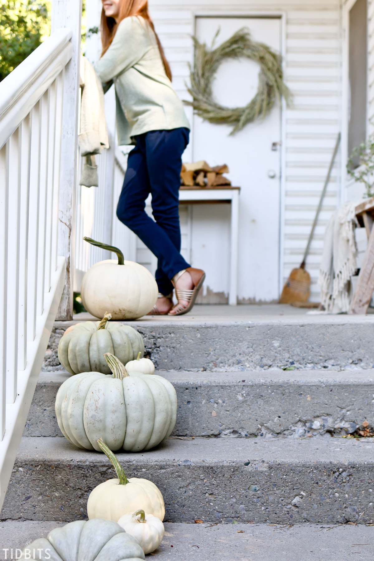 heirloom pumpkins on porch steps