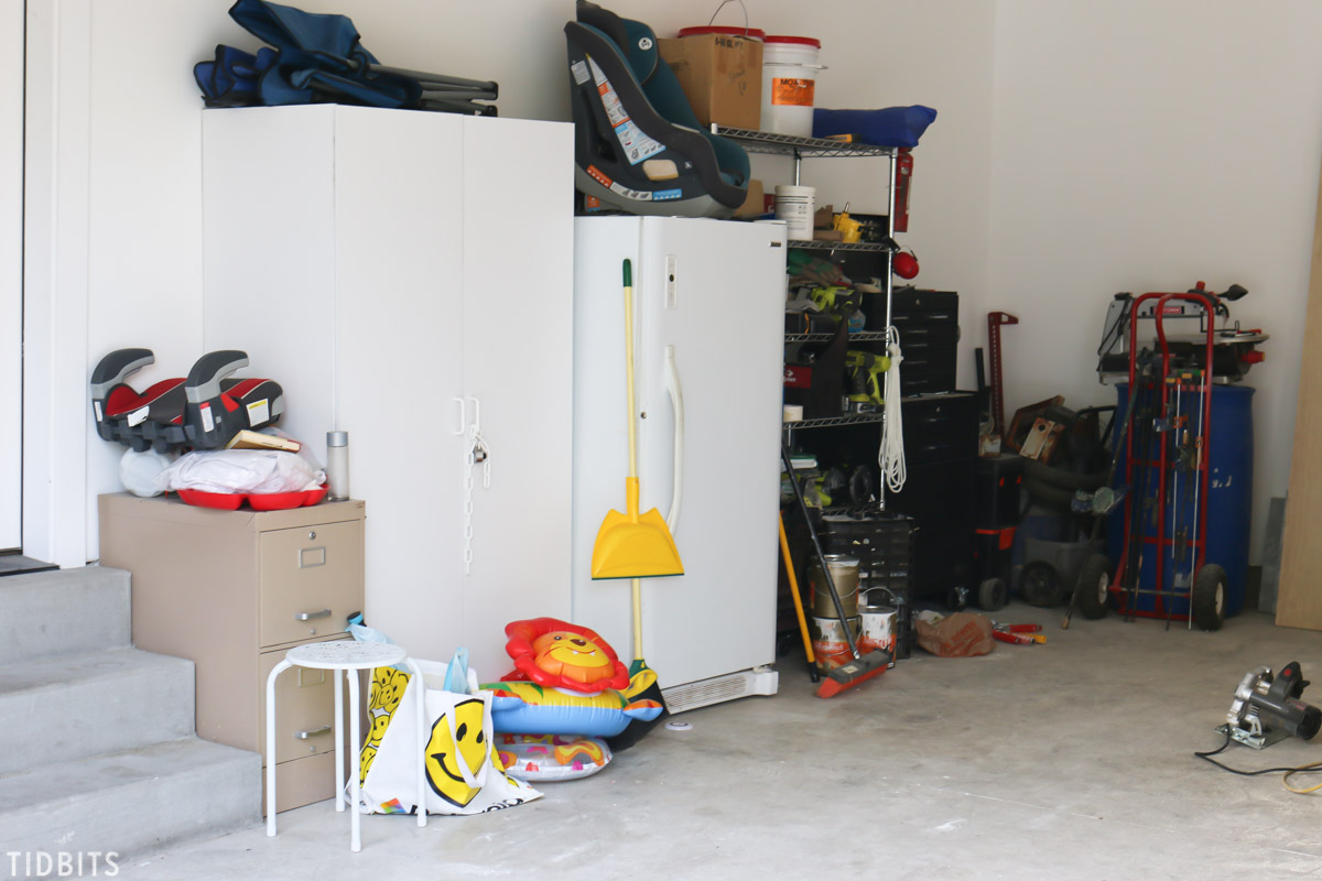 garage organization before picture