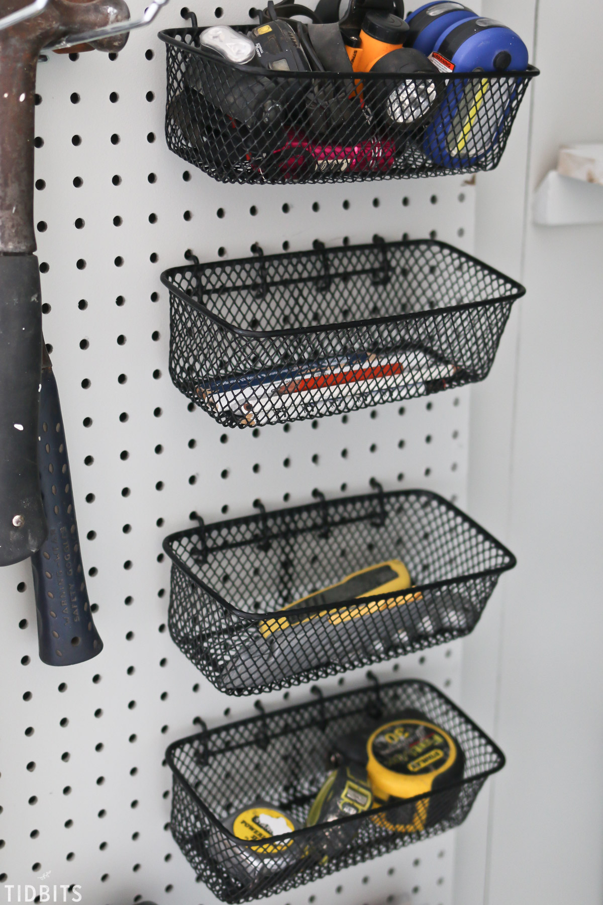 baskkets on pegboard