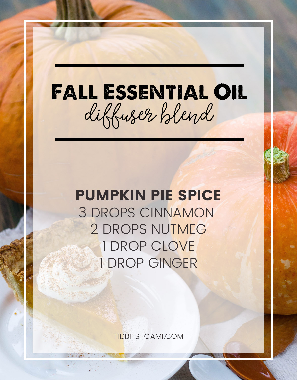 Pumpkin pie spice essential oil diffuser blend