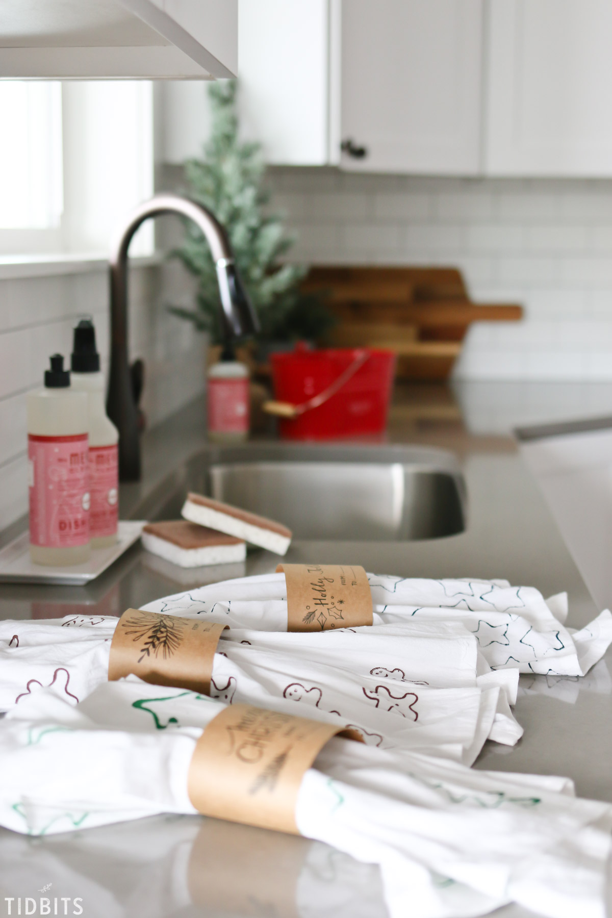photograph regarding Printable Towels titled Cookie Cutter Stamped Xmas Tea Towels - Tidbits