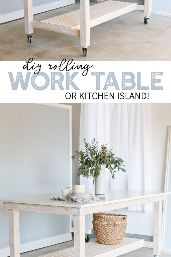 Quartz Countertop DIY rolling work table or kitchen island