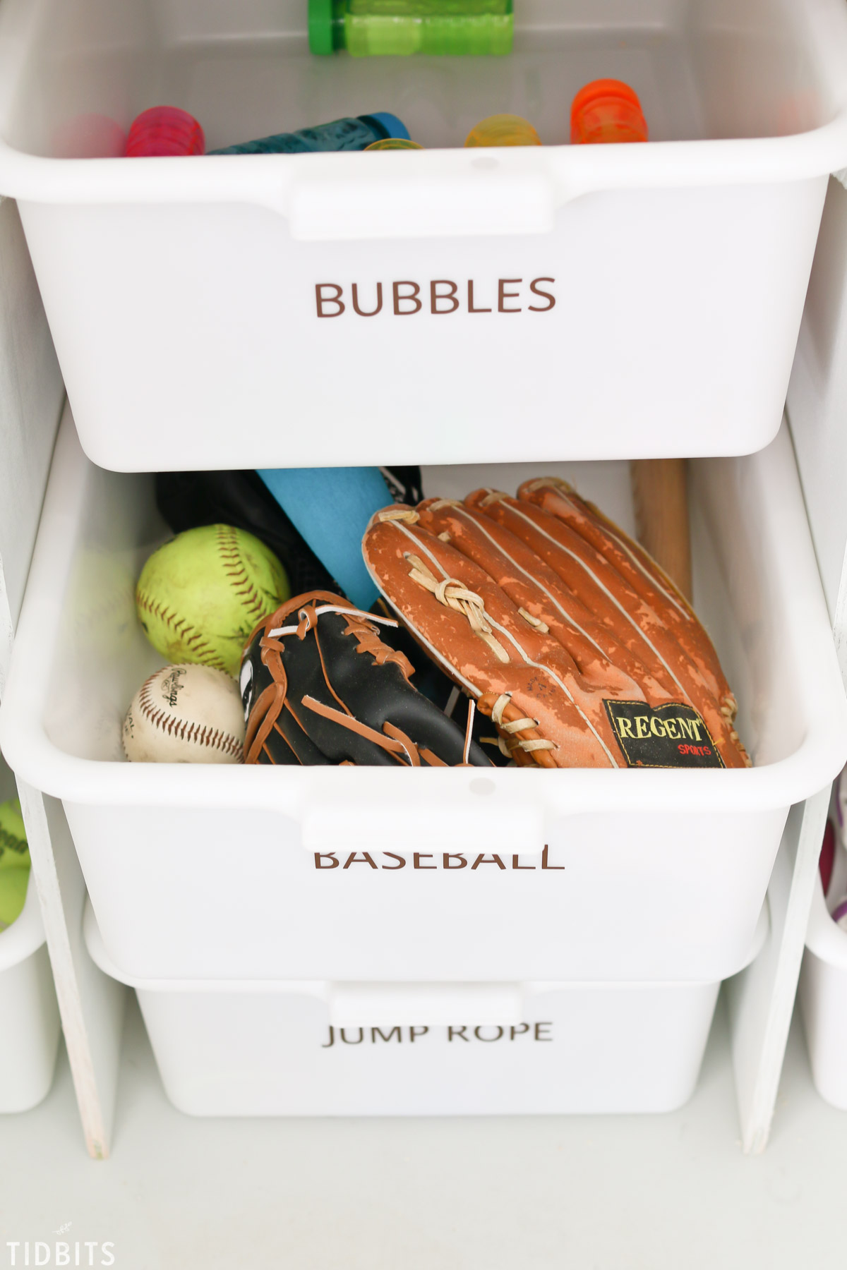 baseball toy storage in garage