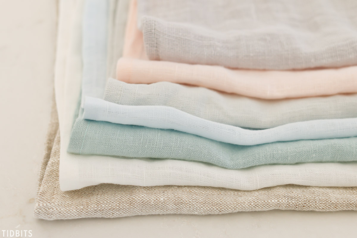 stack of pure linen fabric