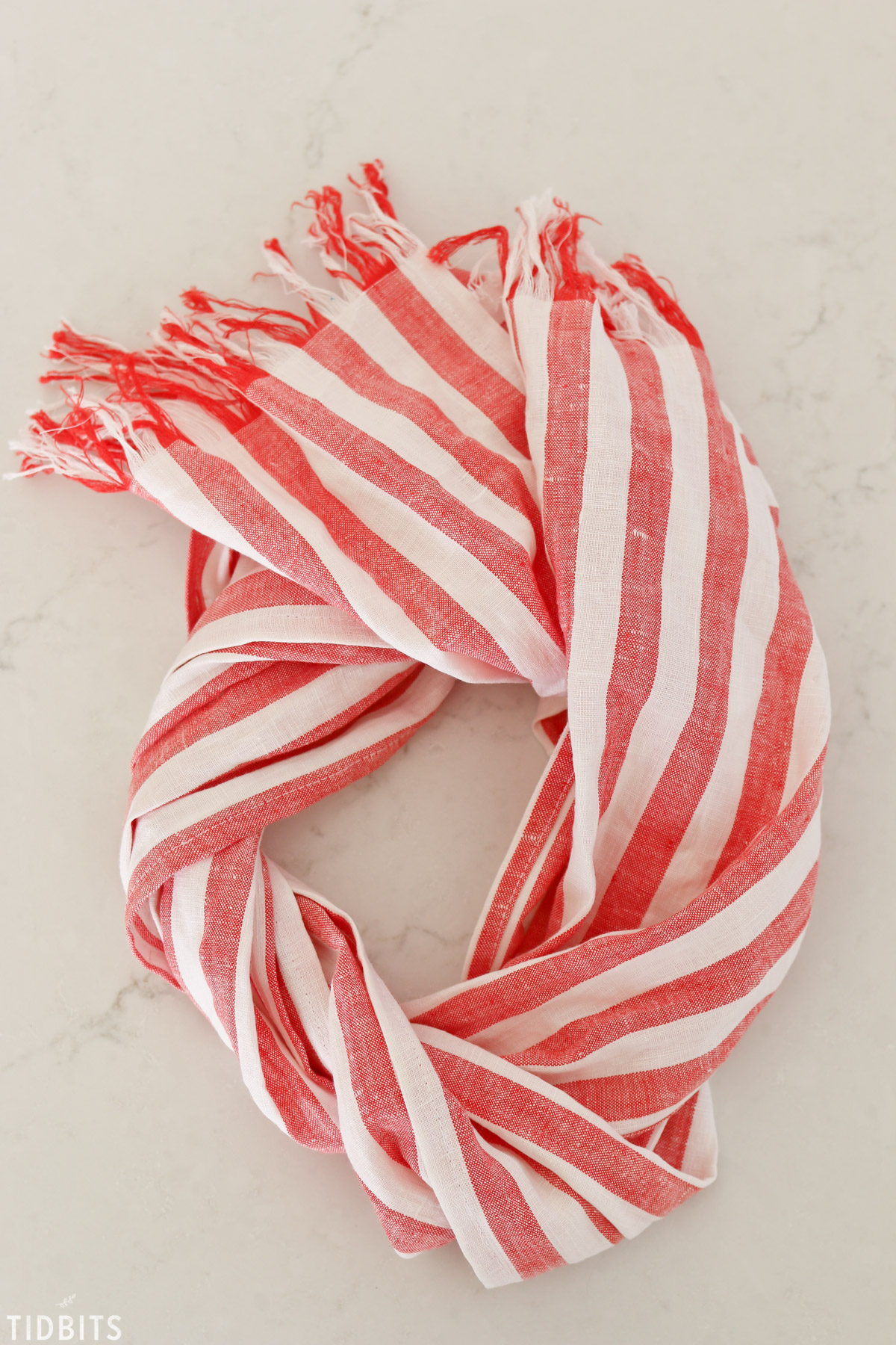 red and white pure linen scarf