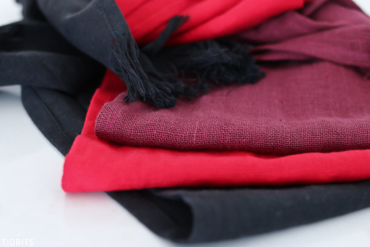 red and blacks on pure linen scarves