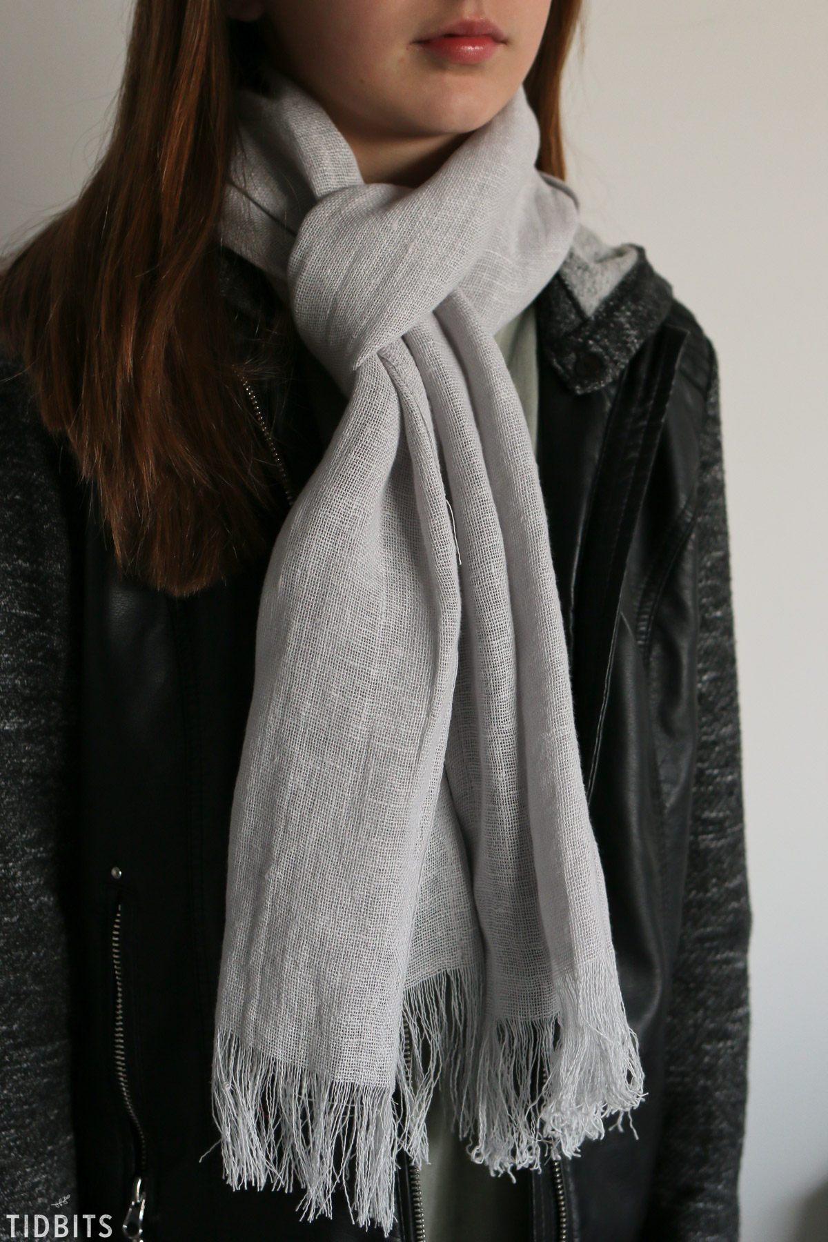 gray pure linen scarf