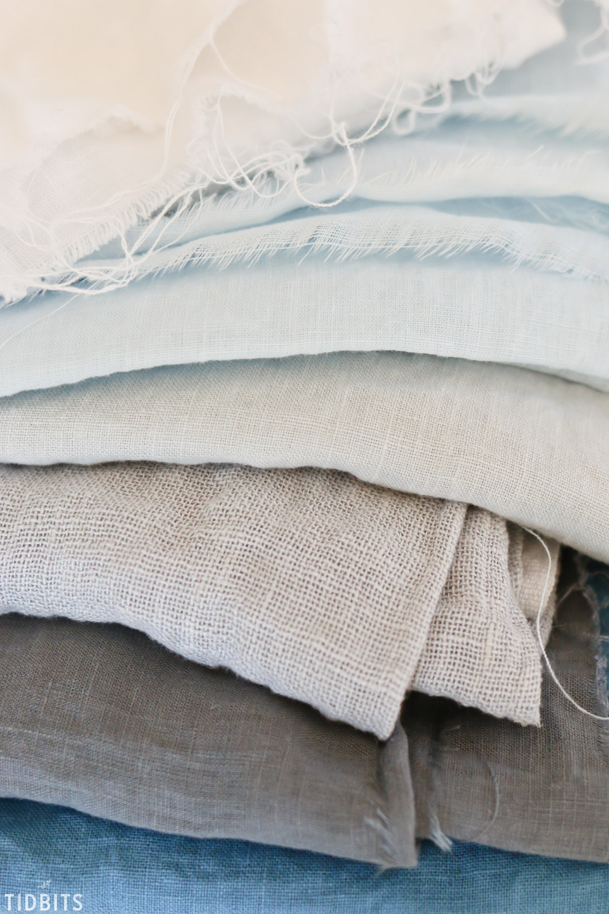 stack of pure linen for scarves