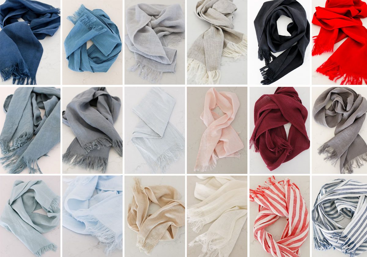 pure linen scarves in all colors