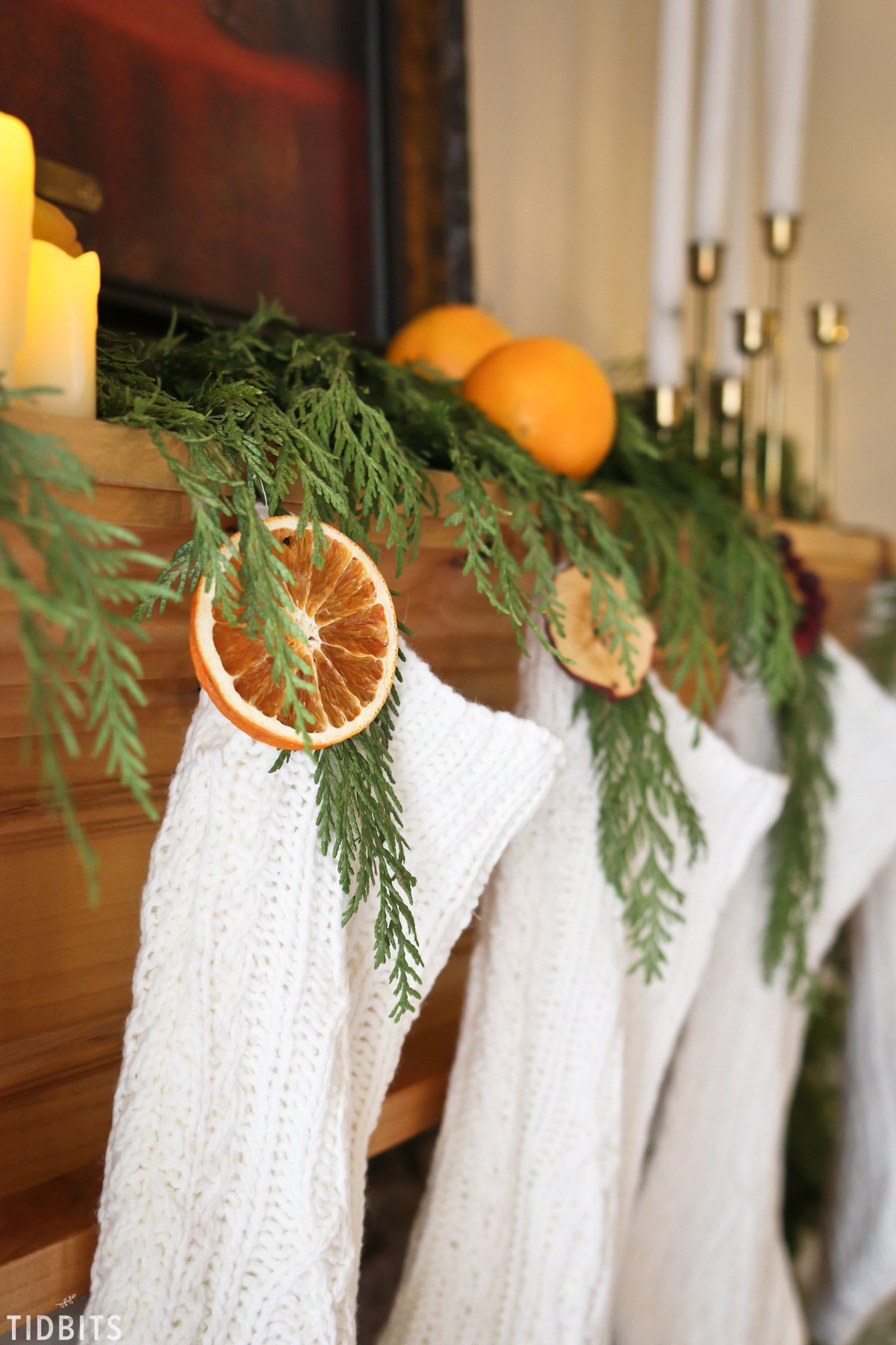 natural christmas decoration on stockings