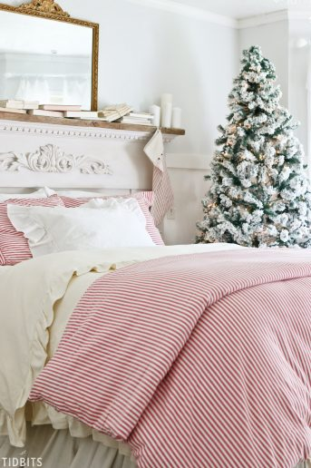 Christmas bedding, red and white grain sack striped. Perfect for Christmas.
