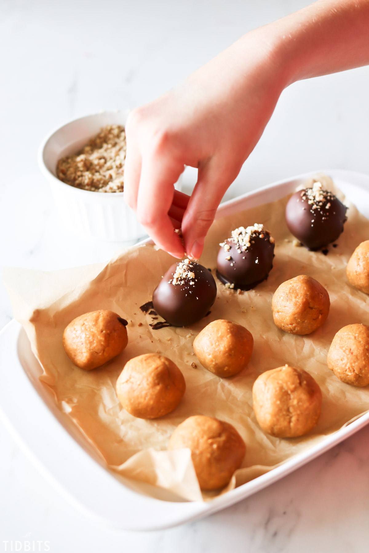 how to make chocolate peanut butter truffles.
