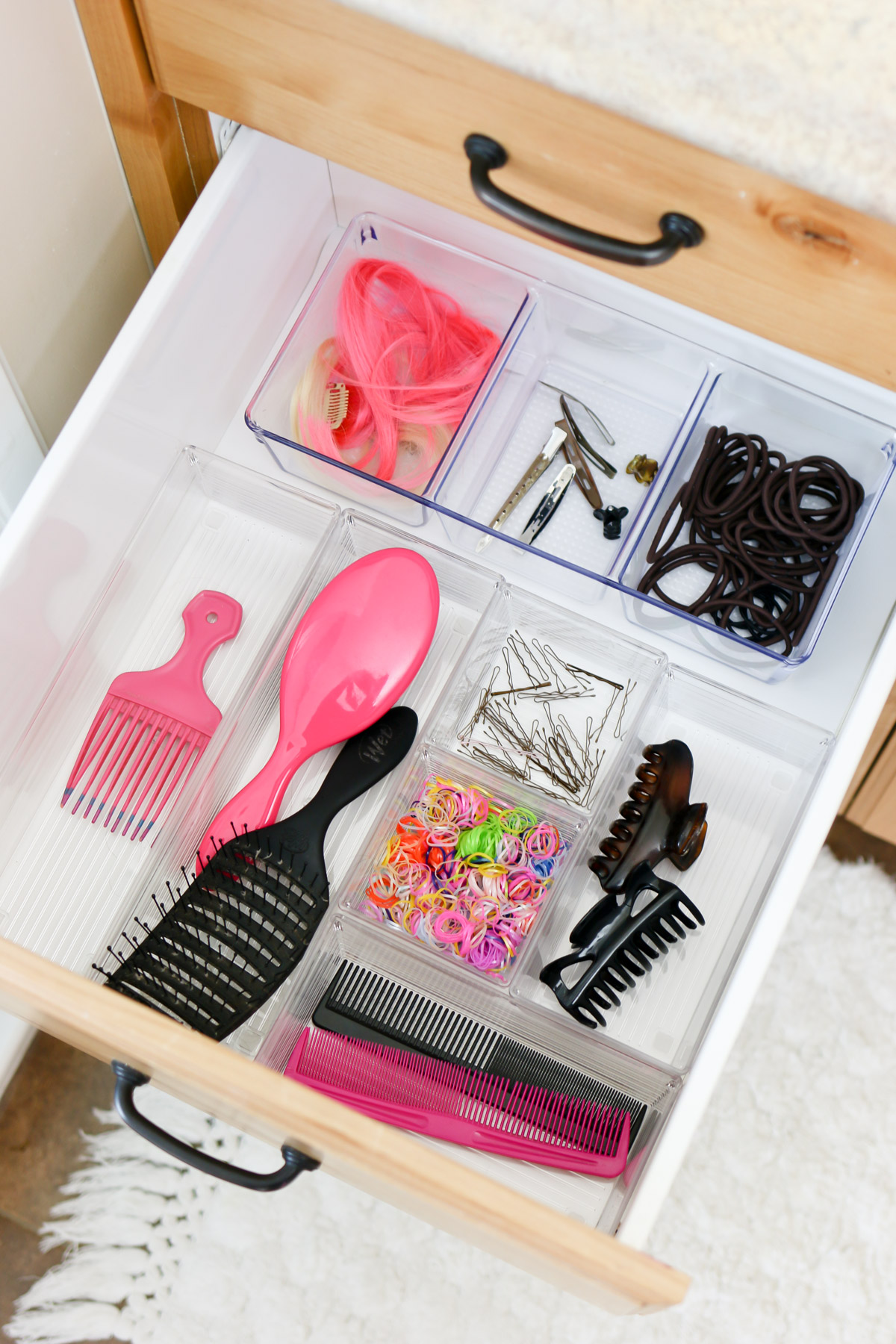 hair care and bathroom organization