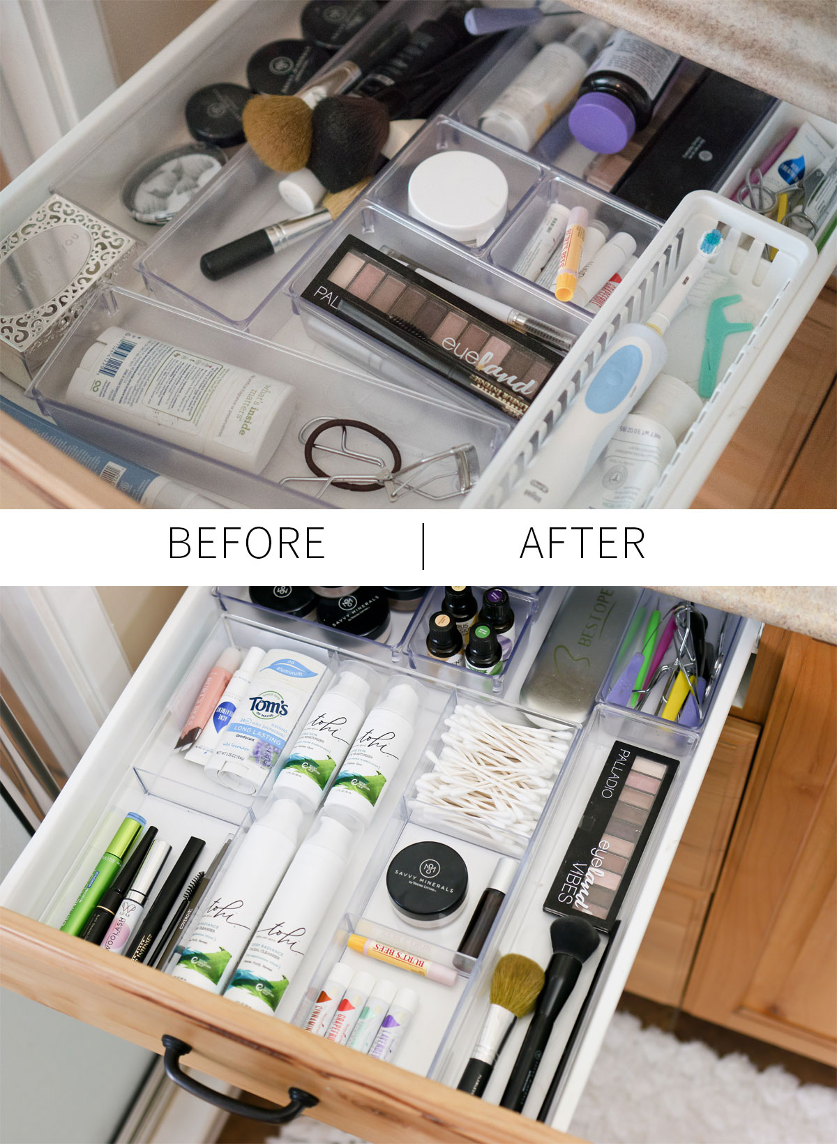 cosmetic drawer and bathroom organization