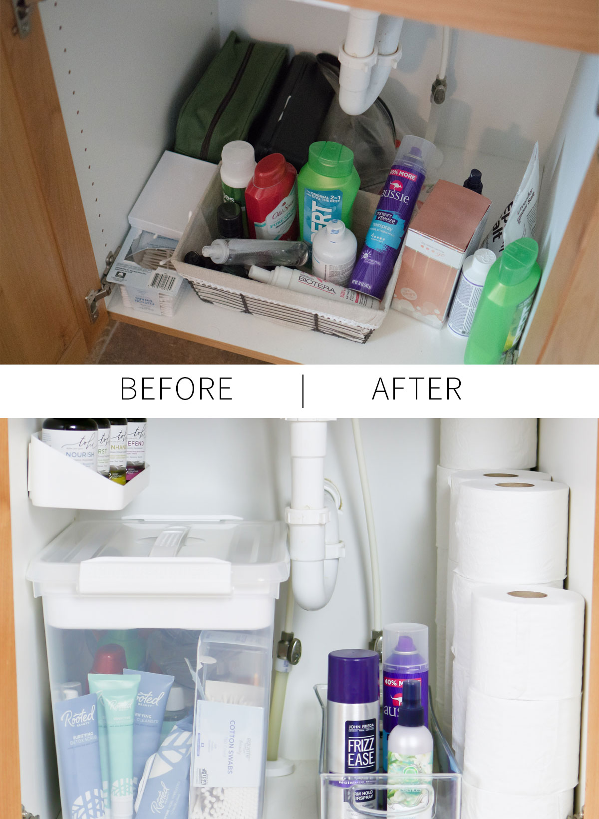 Under the bathroom sink organization