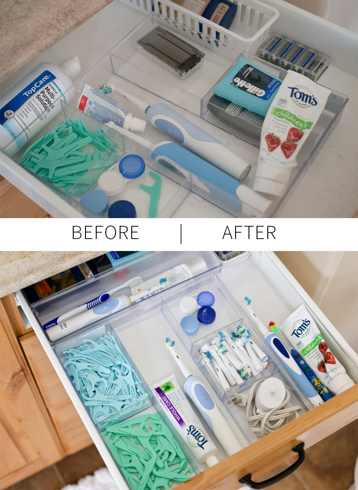 Dental needs and bathroom organization
