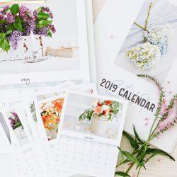 2019 TIDBITS Floral Calendar Free Printable