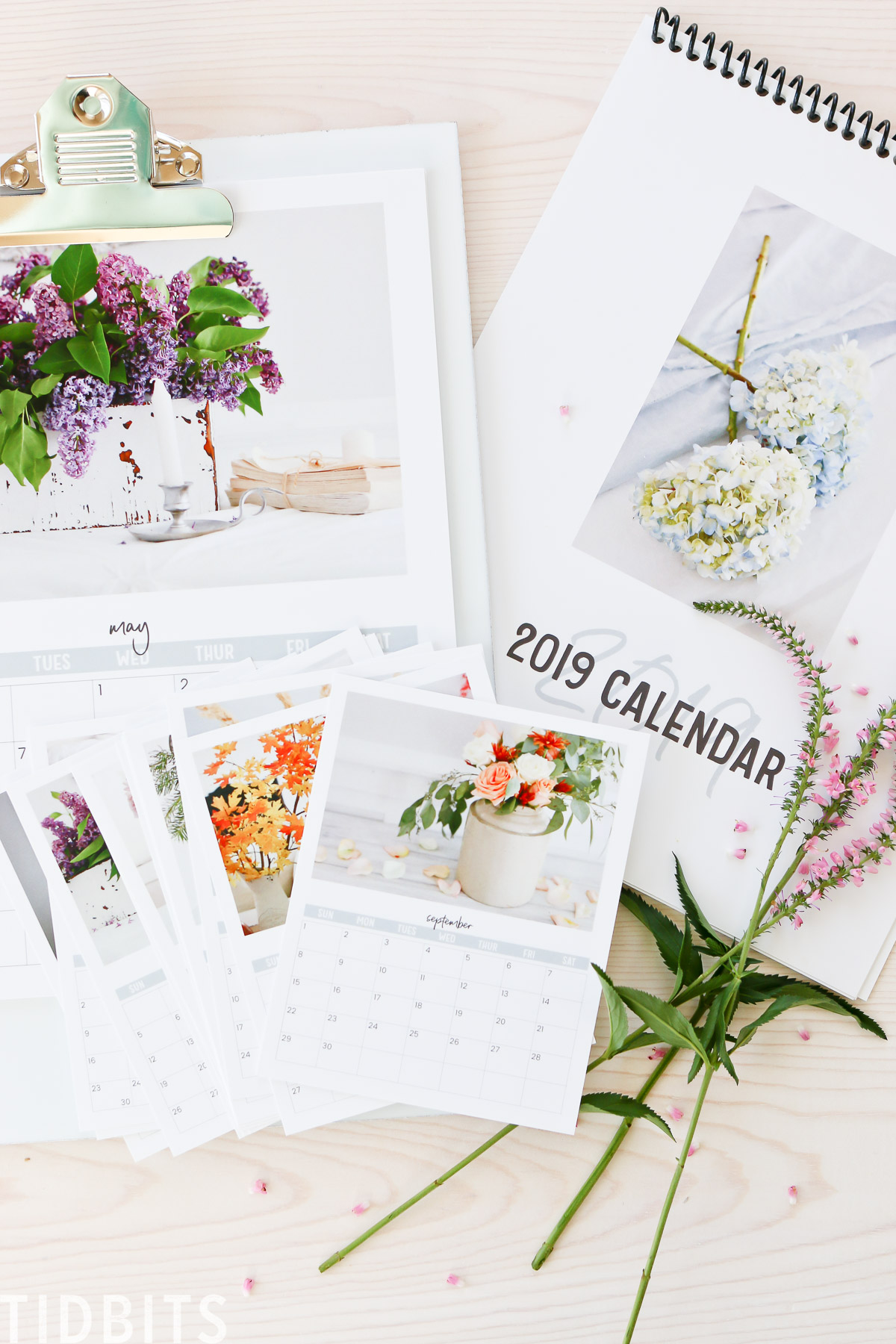 graphic relating to Floral Printable called 2019 TIDBITS Floral Calendar Absolutely free Printable - Tidbits