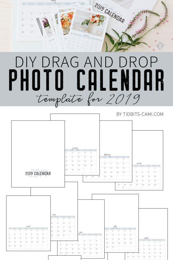 Drag and drop photo calendar template