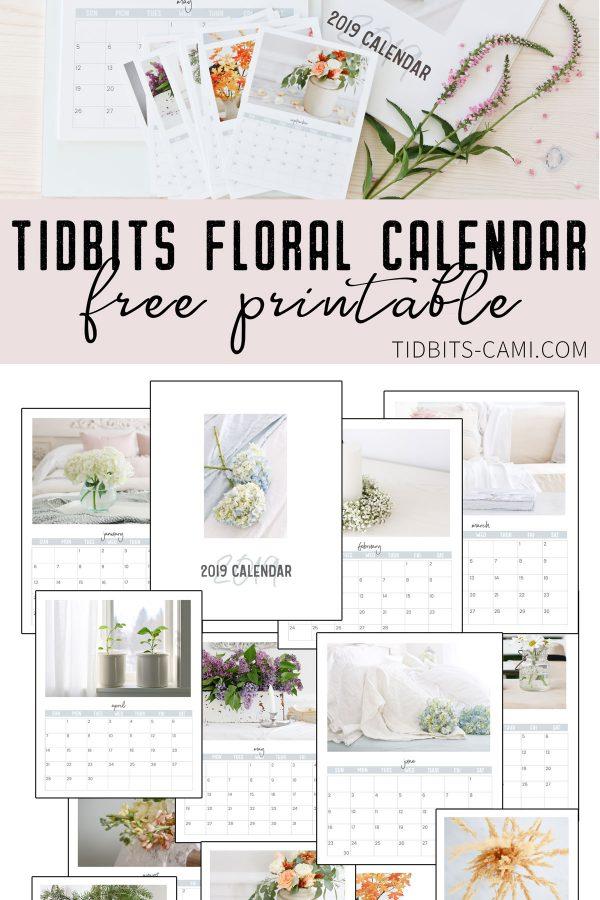 FREE floral calendar printable