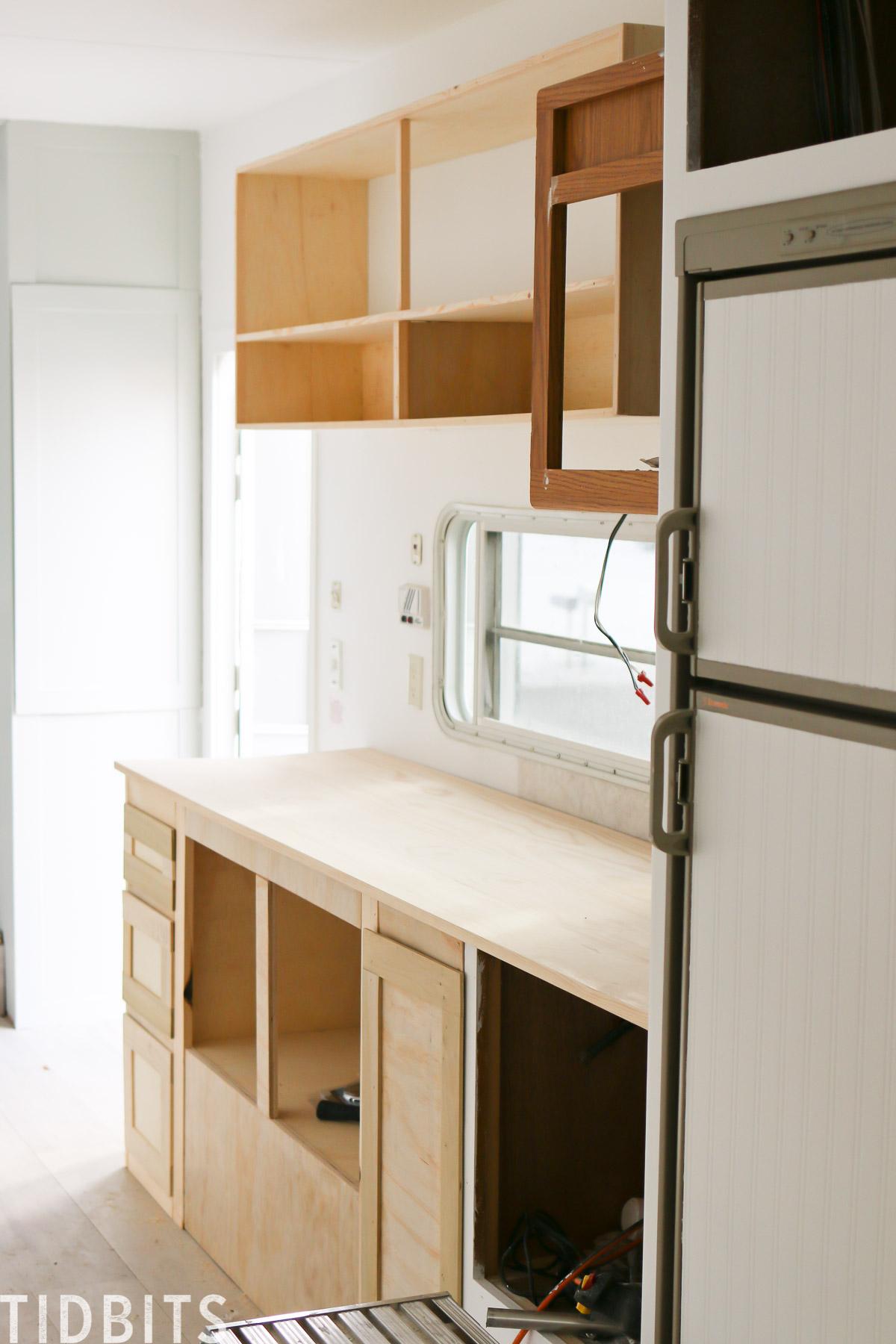 New RV kitchen cabinets