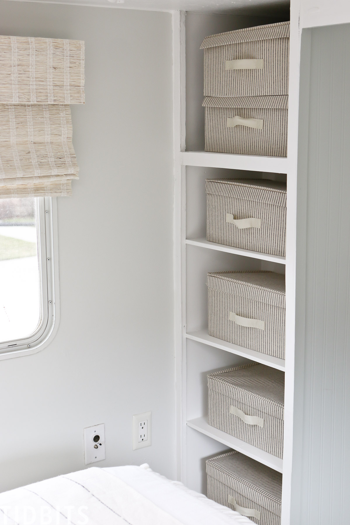 Linen storage boxes for RV organization