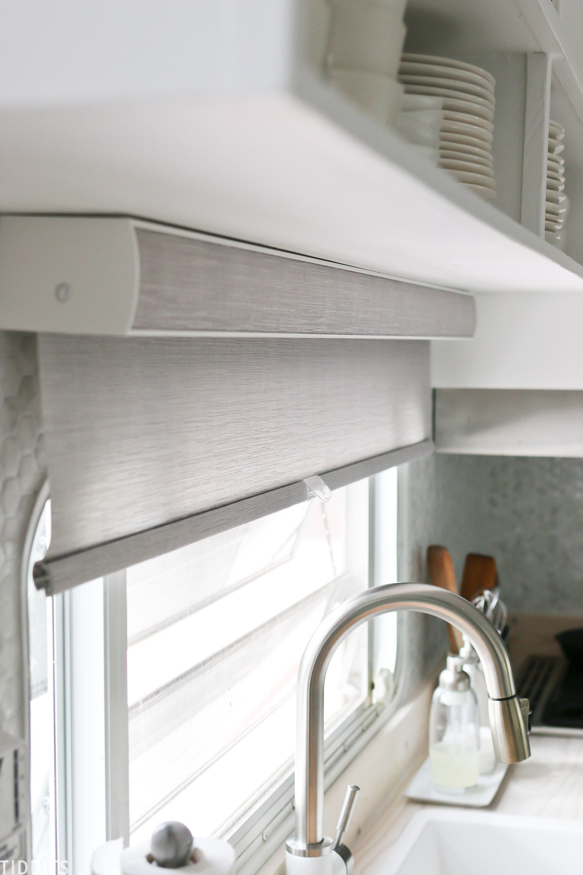 Roller shades for RV budget makeover