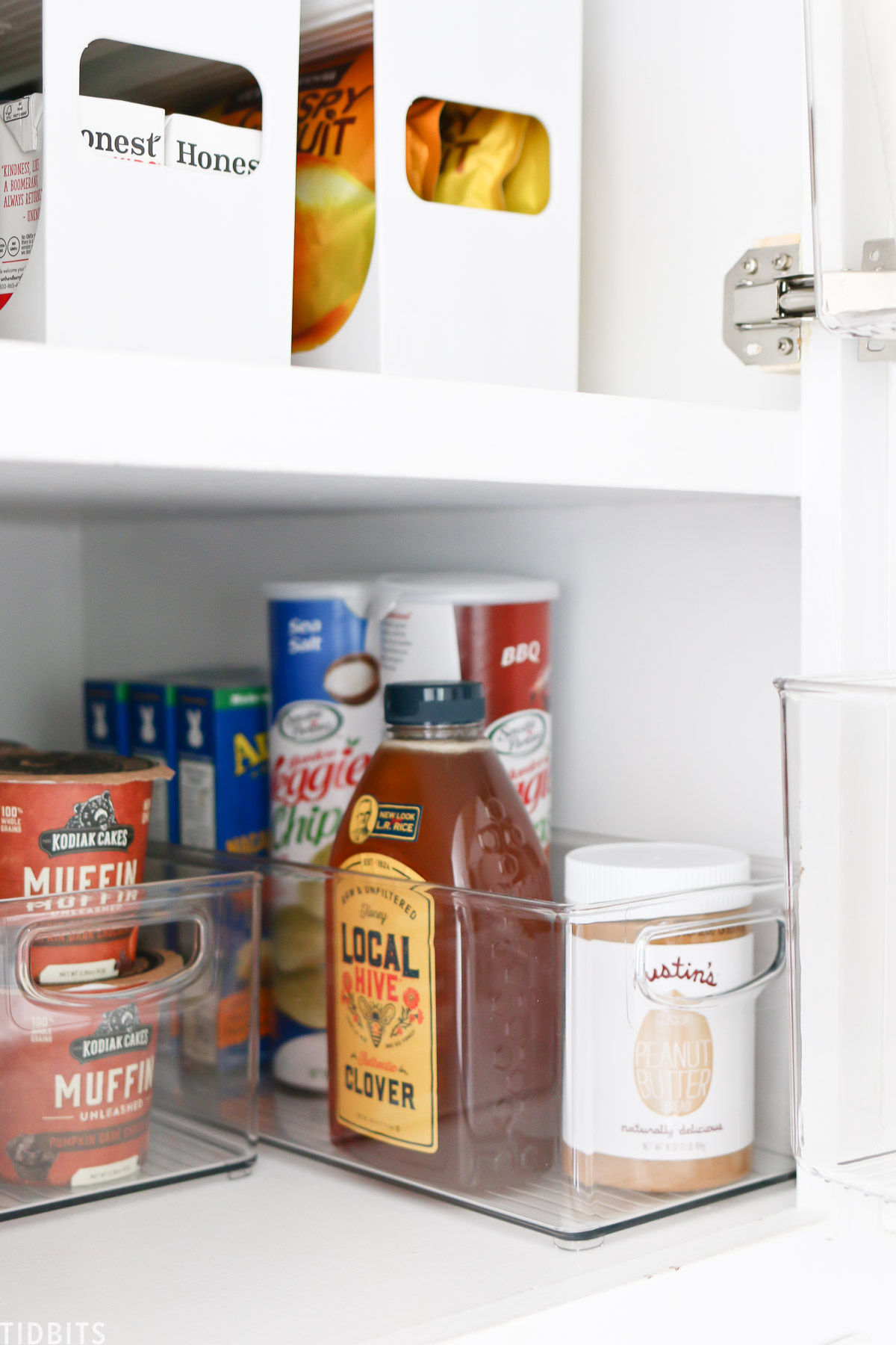 Long and deep clear containers work great for deep shelves in the pantry