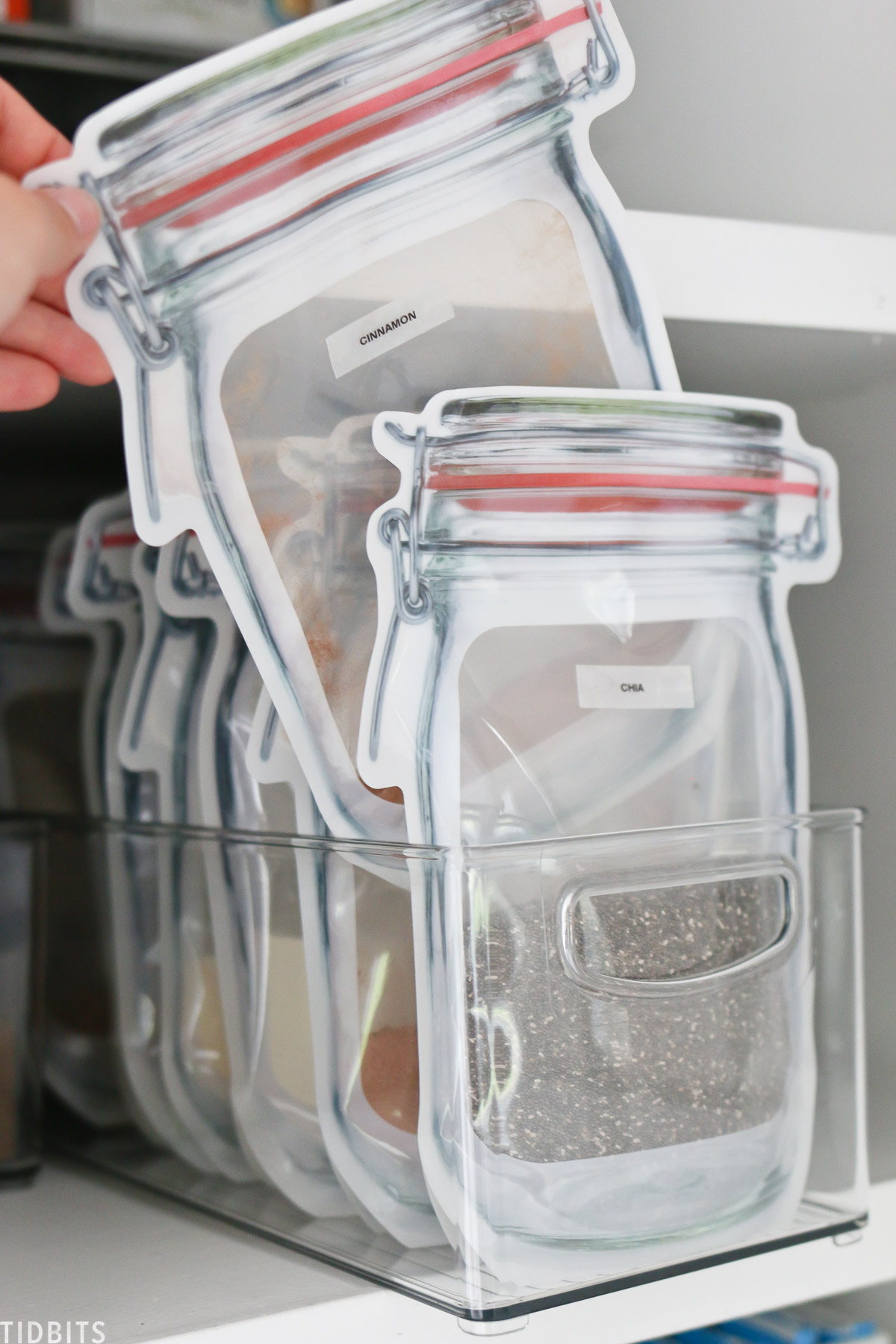 Bagged items and clear containers work great for small pantry organization.