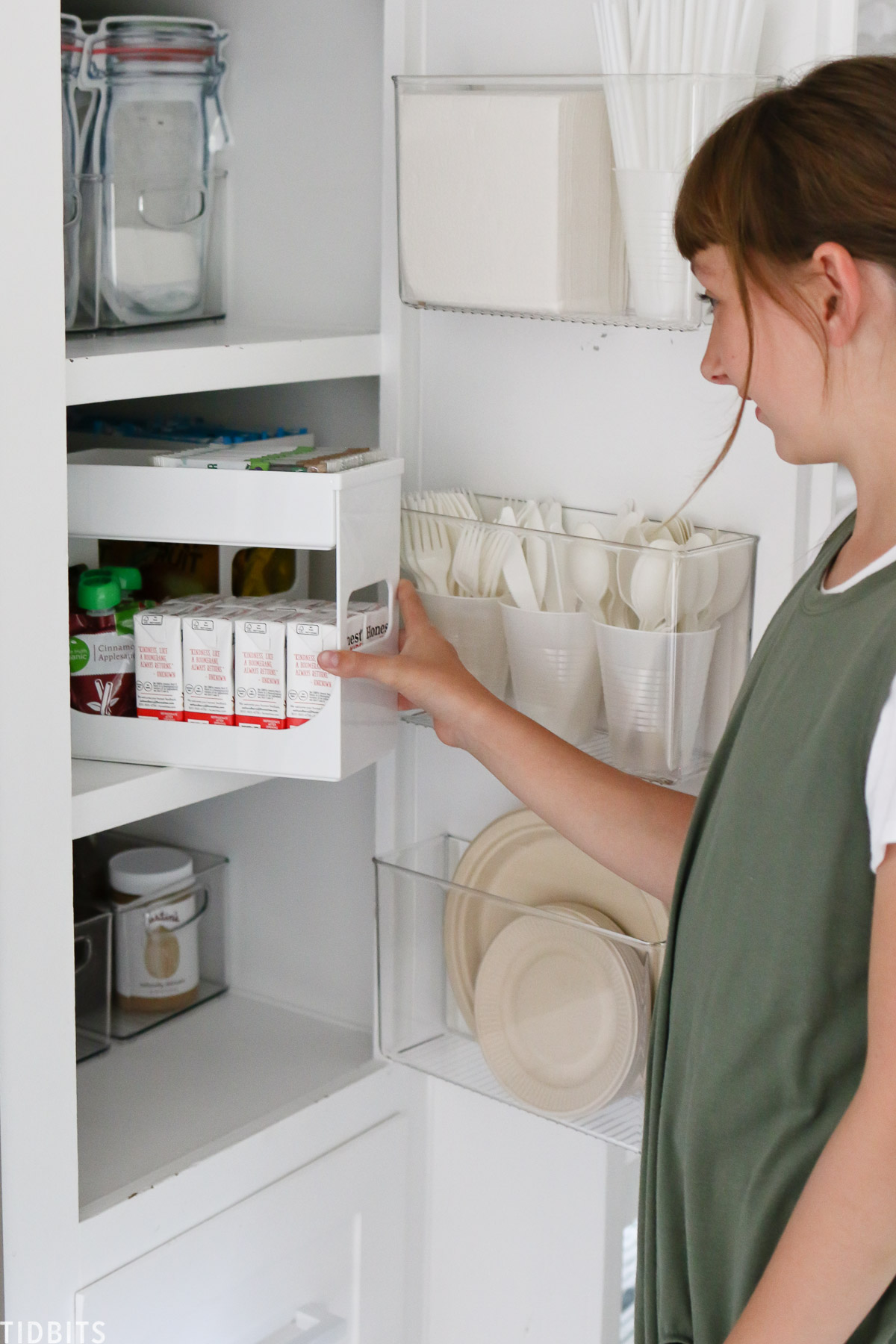 Stacking containers for great pantry organization.
