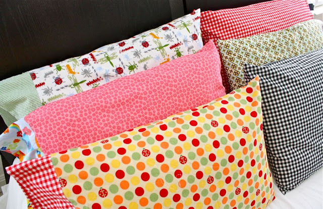 colorful pillowcases on pillows