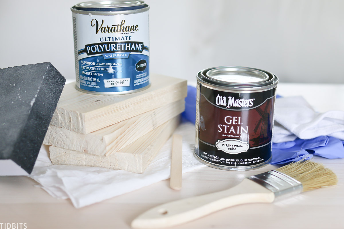 Pickling stain and polyurethane to whitewash wood.