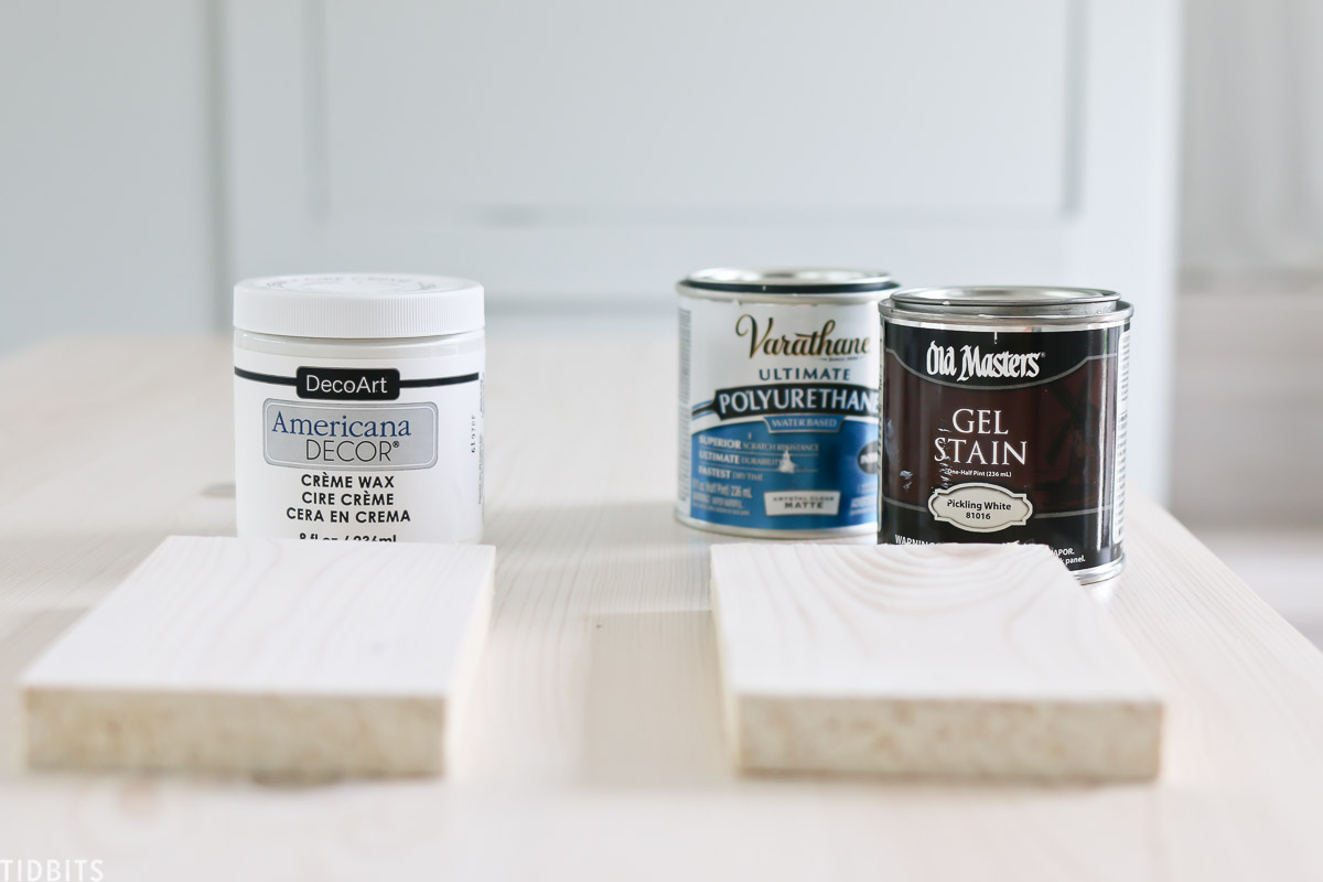 2 techniques to whitewash wood. Stain and white wax.