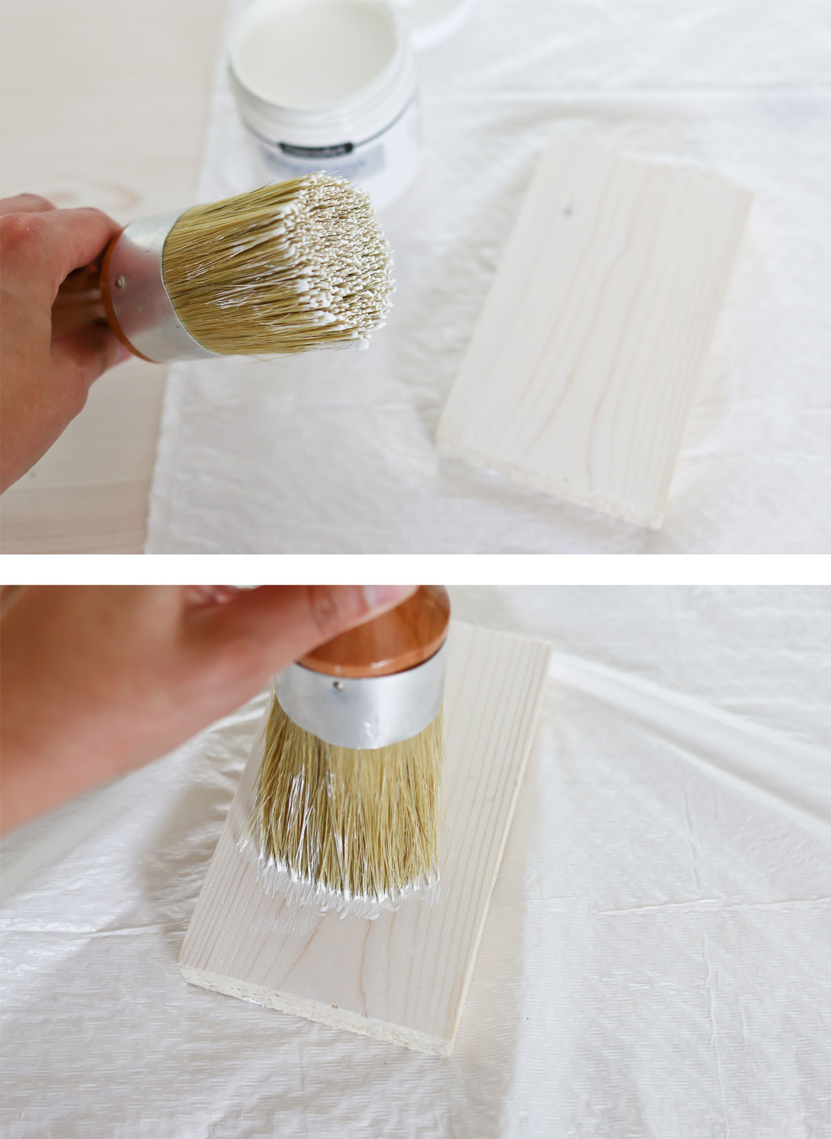 How to apply a white wax on pine wood.