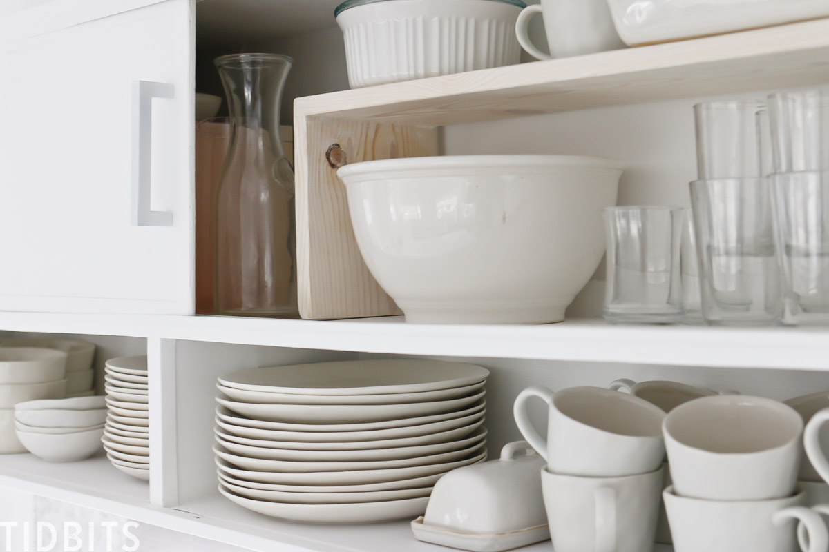 DIY plate risers with whitewash finish.