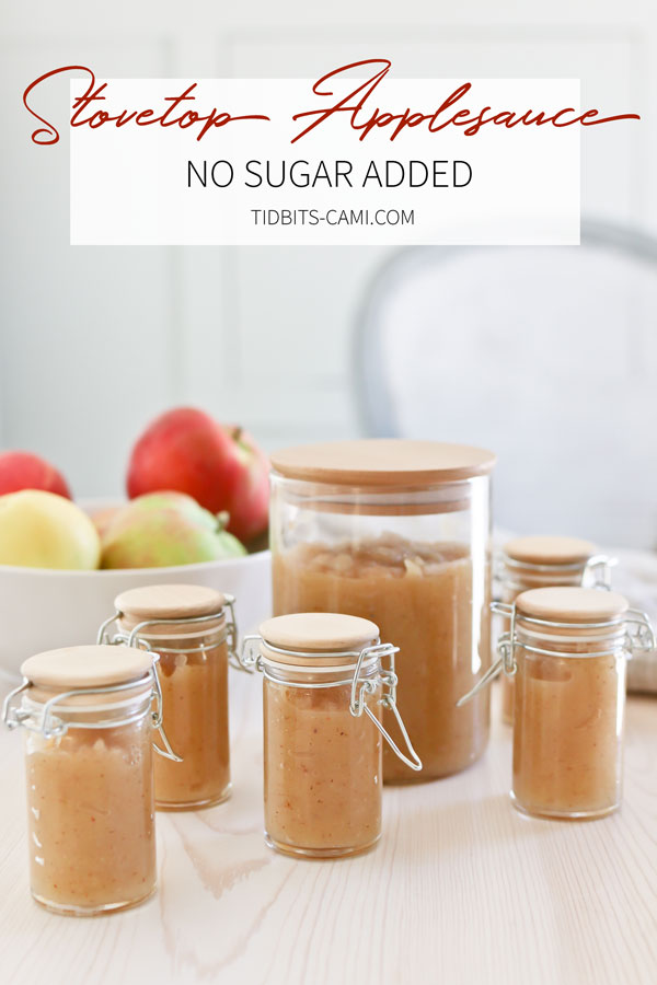 Flavorful, no sugar added stovetop applesauce recipe and instructions.
