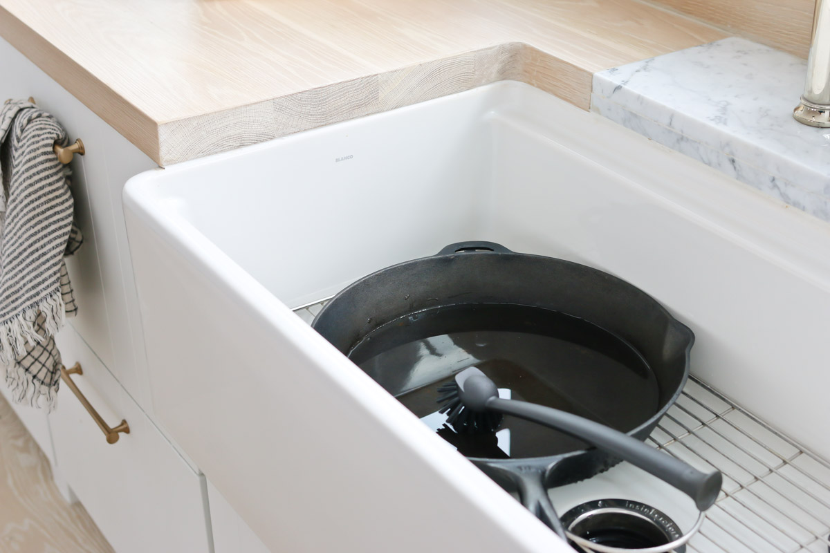 cleaning a fireclay sink
