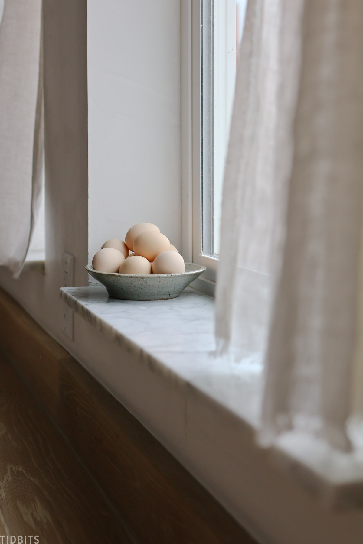 fresh eggs in a windowsill
