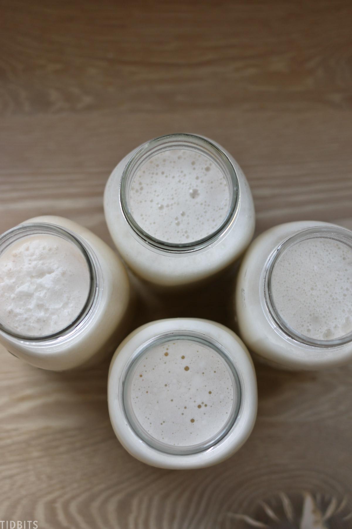 Jars of nut milks