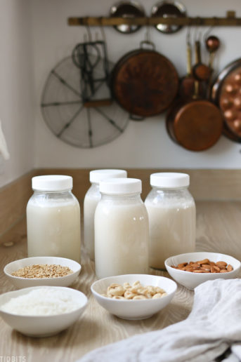 beautiful jars of nut milk