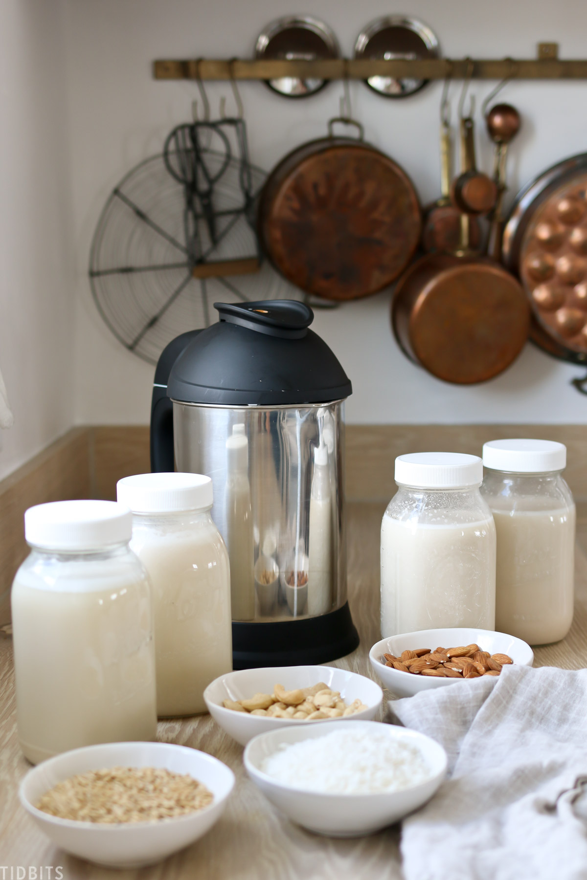 Using the almond cow to make plant based nut milks.