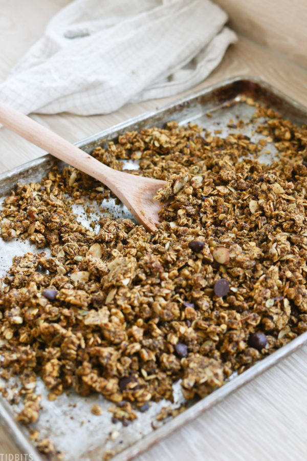 homemade granola on sheet pan