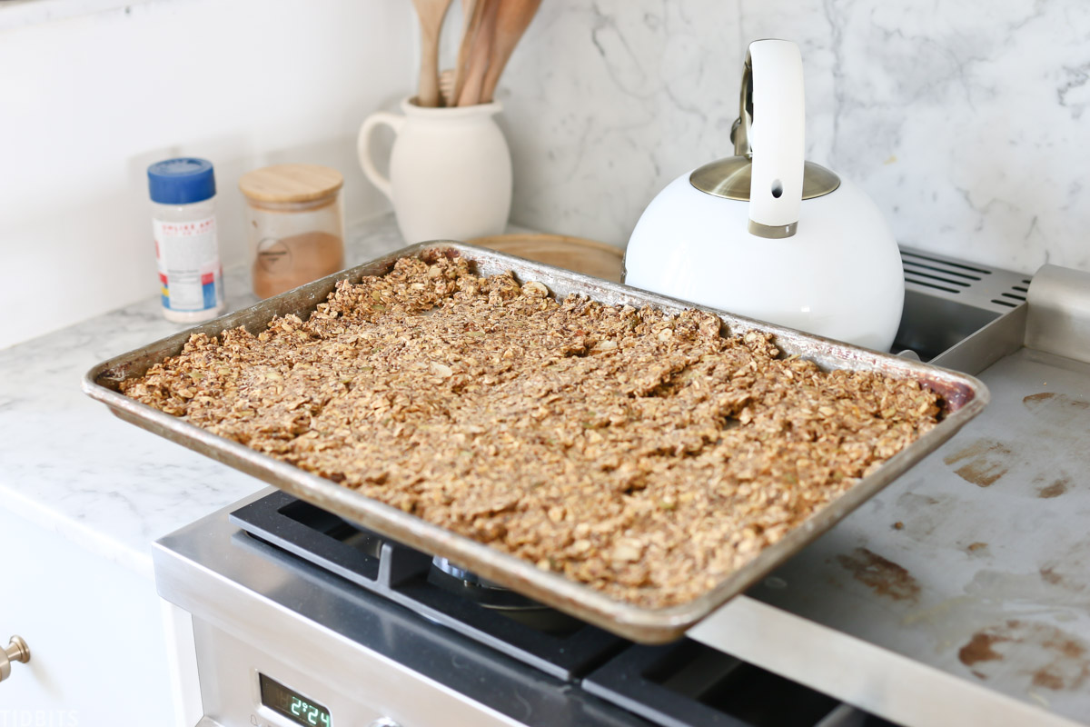step to making homemade granola