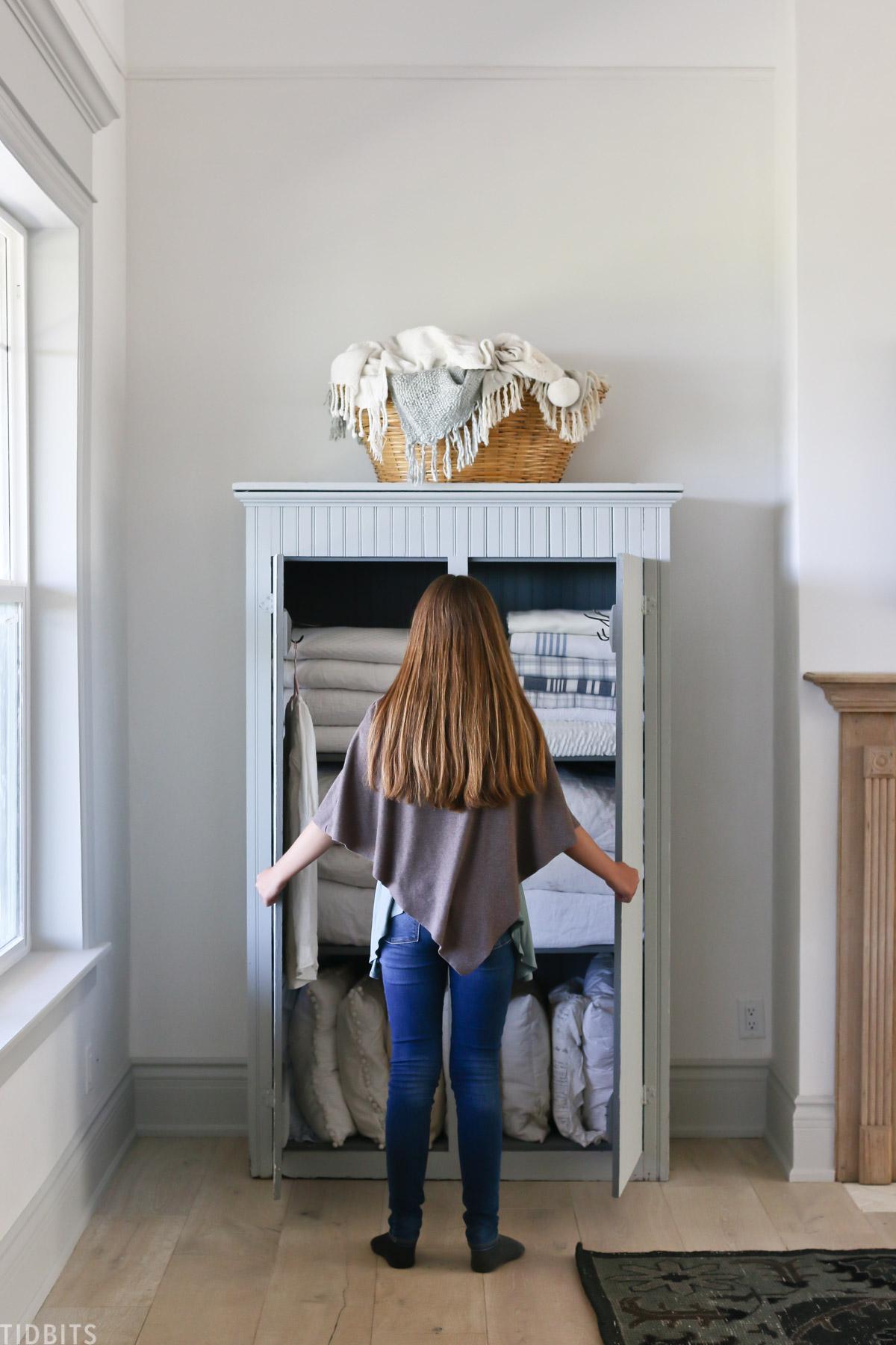 Painted Antique Linen storage cabinet