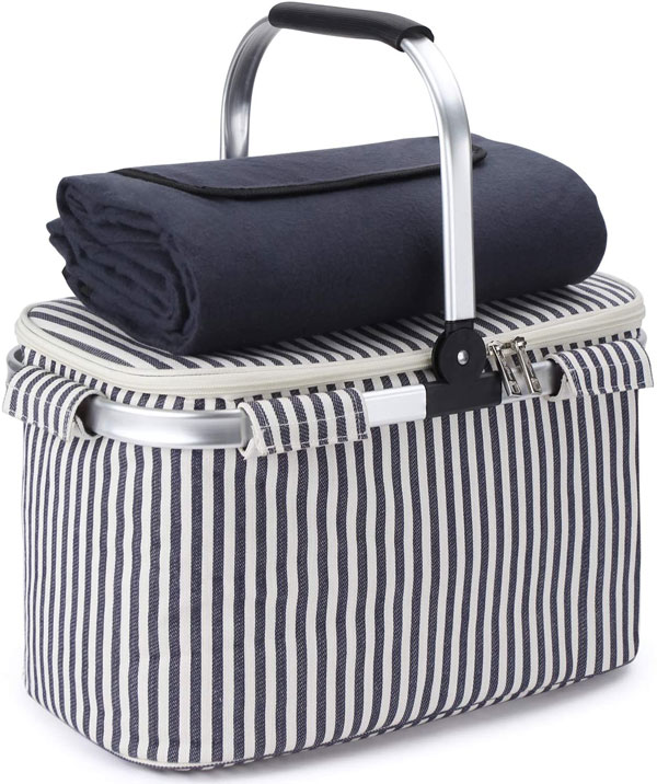 striped collapsable picnic basket